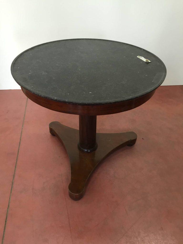 foto-Tavolino tondo 1800, mogano, piano marmo, Francia