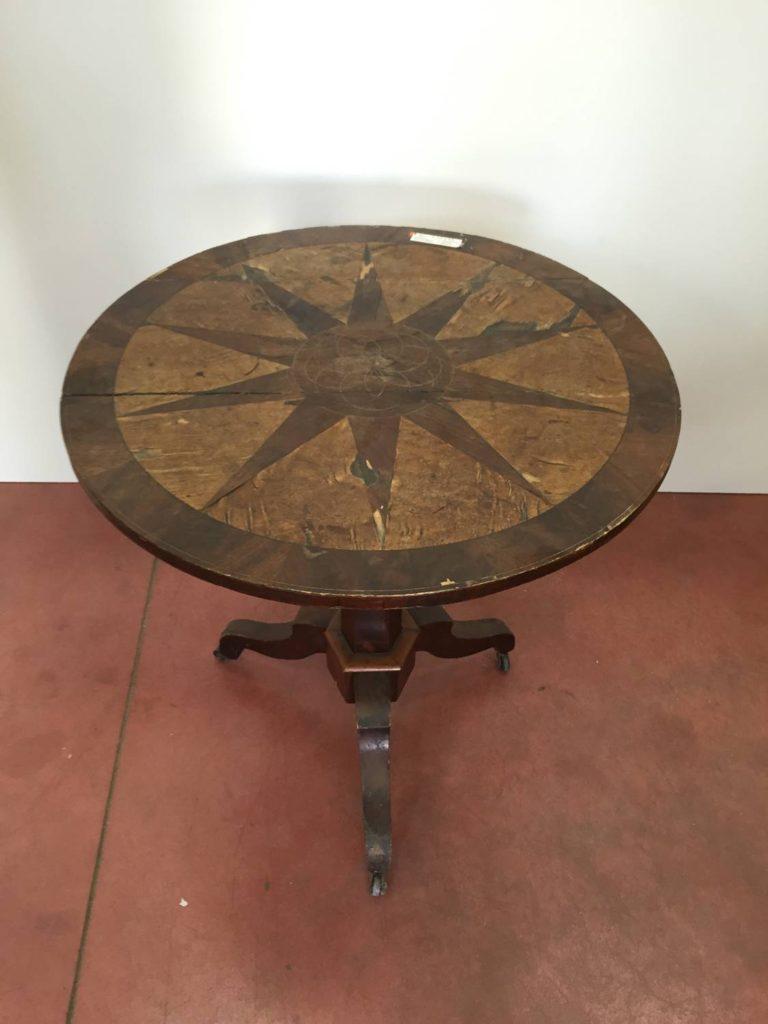 foto-Tavolino tondo Napoleone III, essenze varie, Francia